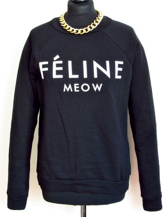 Féline Meow Statement Pulli über ebay